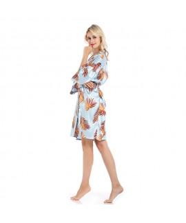 Blockbuster bridesmaid's morning silk nightgowns for women V-collar printed ladies' pj sets