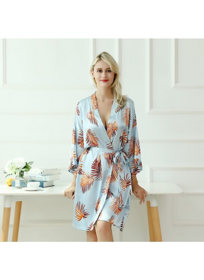 Blockbuster bridesmaid's morning silk nightgowns for women V-collar printed ladies' pj sets