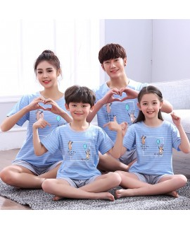 Short Sleeve cartoon cotton parent-child sleepwear can be worn outside