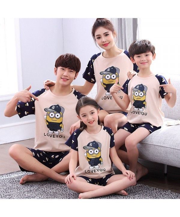 Short Sleeve cartoon cotton parent-child sleepwear can be worn outside