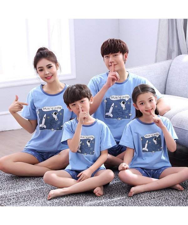 Short Sleeve cartoon cotton parent-child sleepwear...