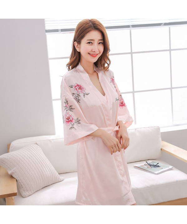 Two-piece sexy printed Ice Silk Pajama sets for women long sleeved nightgowns female