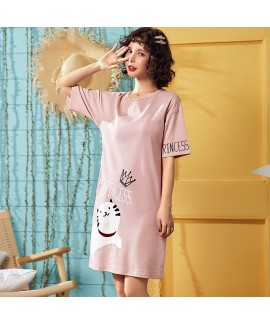 Cotton cute onesies for adults in summer short sleeve cartoon pajamas and night gown for women