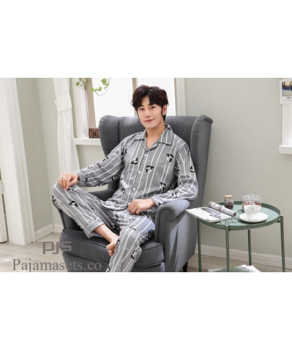 Long sleeved large size cotton pajama sets for men cardigans comfy lounge pajamas male for spring