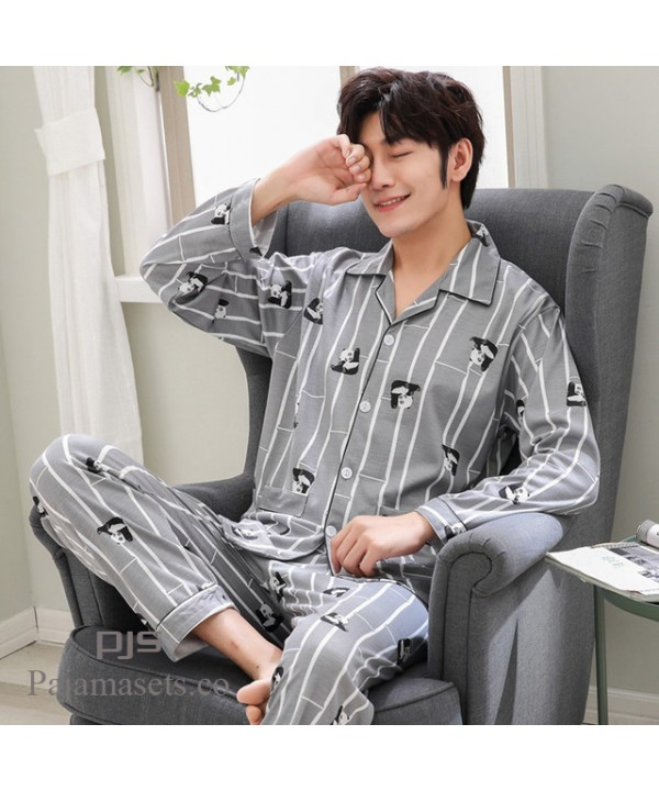 5f28776625 Long sleeved large size cotton pajama sets for men.