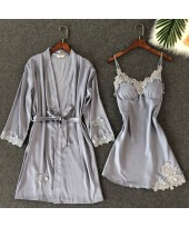 Embroidered Lace Sleepwear Female sexy pajama and ...