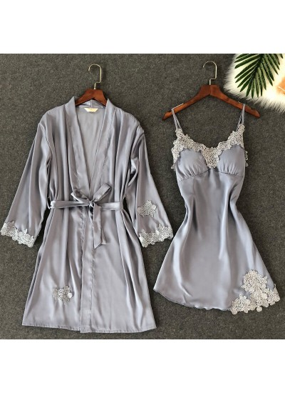 Embroidered Lace Sleepwear Female sexy pajama and Bathrobe for women