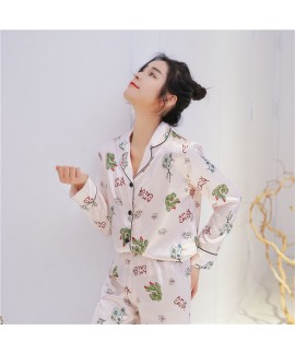 Long Sleeve Fashion Sleepwear Female for Spring and Summer Printed Loose Sweet Card Sleepwear