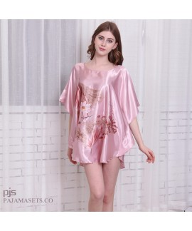 Large size simulated silk sexy sleepwear for women short sleeve ladies silky nightwear in summer