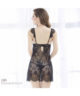 Sexy Transparent Eyelashes Lace pj sets for women Sexy Lady's Sleepwear