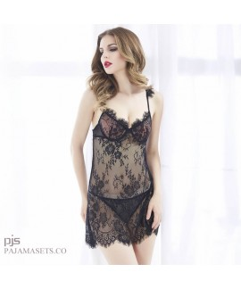 Sexy Transparent Eyelashes Lace pj sets for women ...