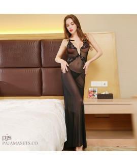 Sexy Lace Attractive pj set Female transparent Mesh Sleepwear for women