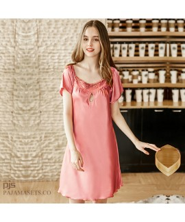 Short Sleeve Simulated Silk Sleepwear for Lady Sex...