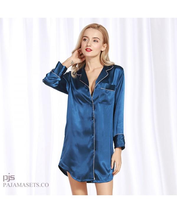 Simulated Silk Sexy Ladies Sleepwear in summer luxury silky nightwear for women