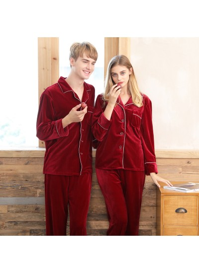 Velvet couple pajamas,ladies red wedding brides home sets for autumn and winter
