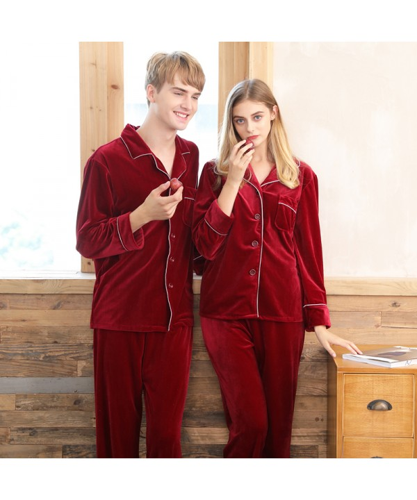 Velvet couple pajamas,ladies red wedding brides ho...