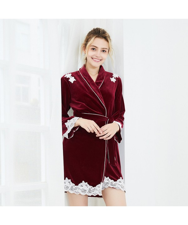Long sleeved velvet Nightgown for women comfy lady's tunic pajamas