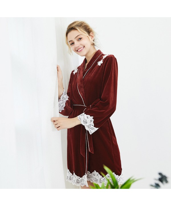 Long sleeved velvet Nightgown for women comfy lady...