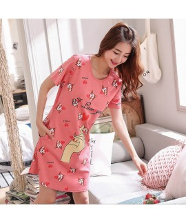 Cotton Short Sleeve Cartoon Leisure Sleepwear Female Cute Student pajama sets