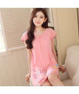 Cotton Short Sleeve Cartoon Leisure Sleepwear Fema...