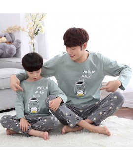 Long Sleeve Cartoon Cotton Parent-Child sleepwear for Spring and Autumn