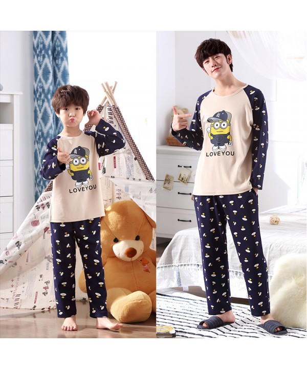 Long Sleeve Cartoon Cotton Parent-Child sleepwear ...