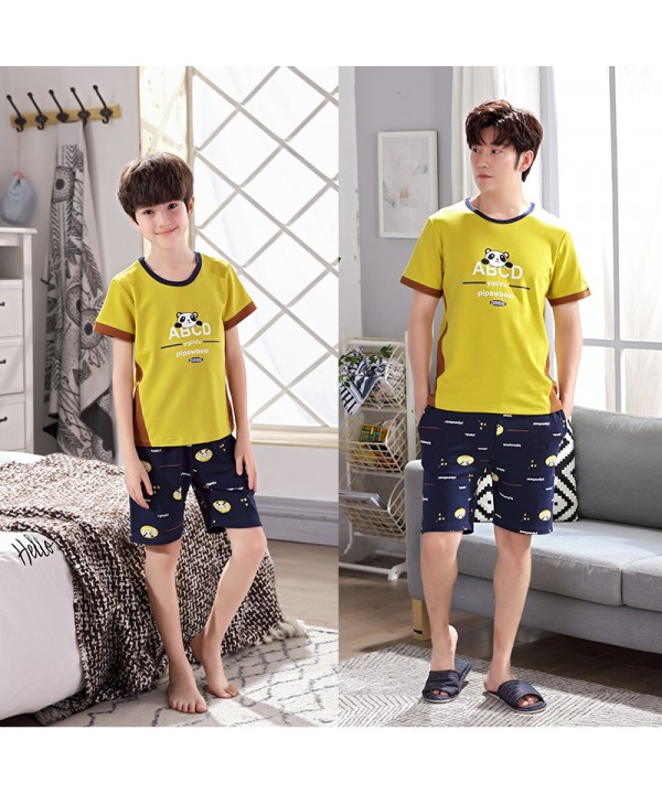Short sleeves Cotton father and son pajama sets for summer