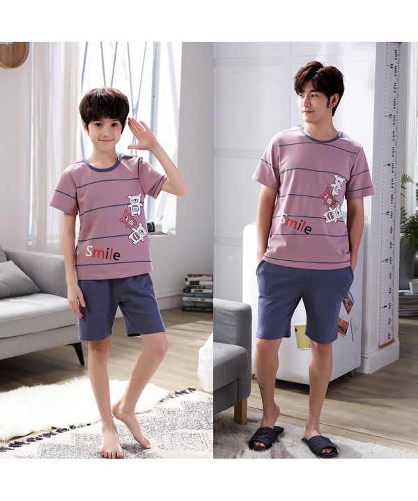 Short sleeves Cotton father and son pajama sets fo...