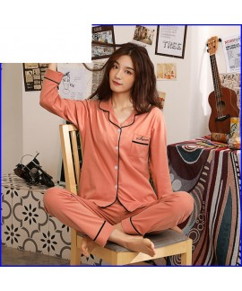 long sleeve pure cotton Sleepwear for spring fresh and confident lady Lapel pajama sets