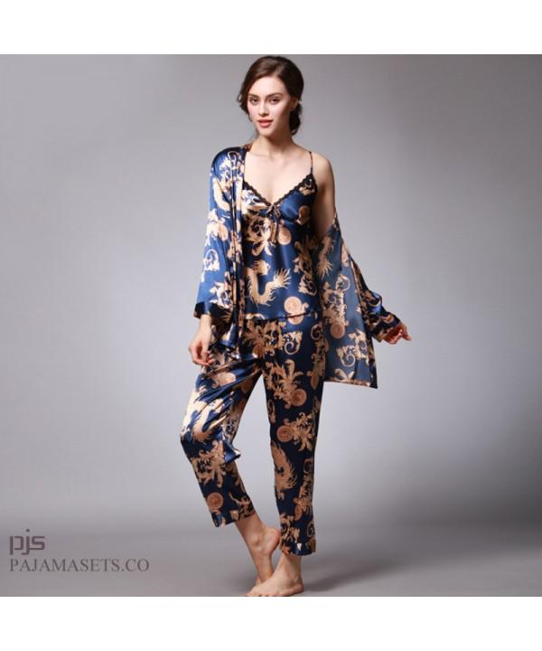 Simulated silk three-piece pajama set for women dr...