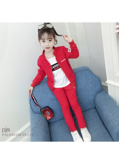 New kids three set of pajamas for spring comfy sleepwear sets for children