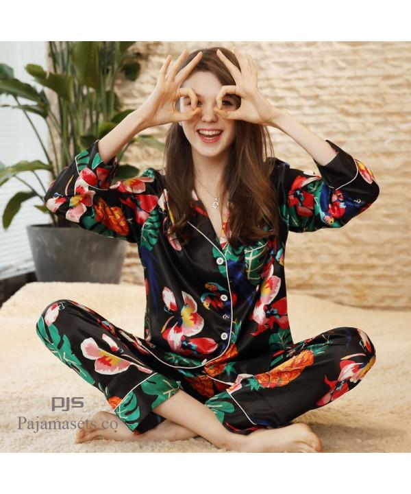 ladies' long sleeve satin silk pajama set for spri...