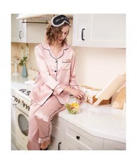 Spring ice Silk Simple Casual  Long Sleeve Loose Size Sleepwear Woman