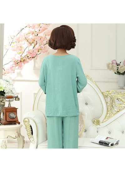 Plus size long sleeved cotton pyjamas sets women softest printed elderly lounge pajamas