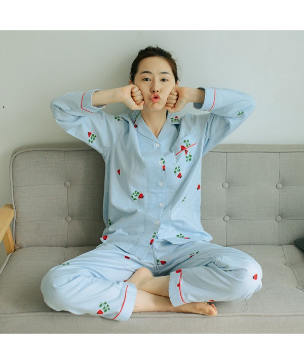 Long-sleeved Plus Size lady's pure cotton pajama s...