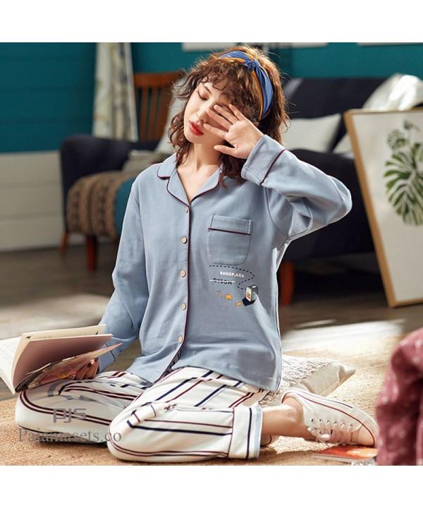 long sleeve women cotton pajama sets lapel casual ...
