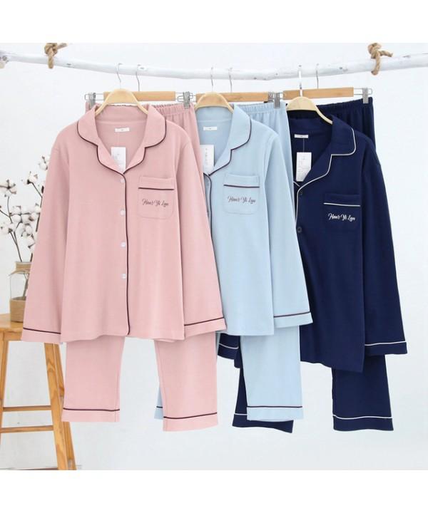 lapel couple comfy cotton pajama sets for winter c...