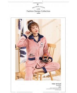 Plus size flannel pajamas thickened home furnishing, ladies' lovable winter velvet pajamas