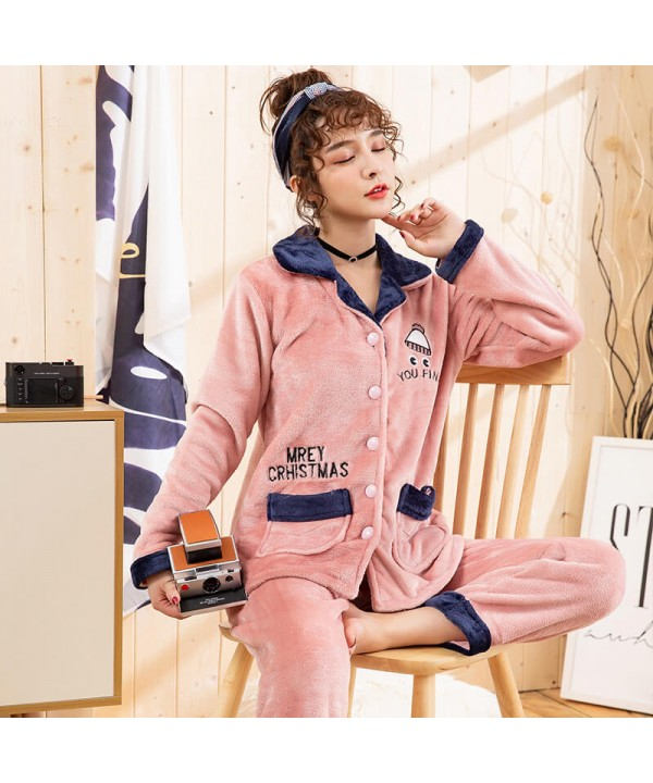 Plus size flannel pajamas thickened home furnishin...