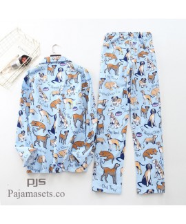 Long Sleeve Pure Cotton Wool Pyjama set male for spring cheap comfy couple set pjs cotton