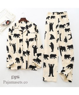 Long Sleeve Pure Cotton Wool Pyjama set male for s...
