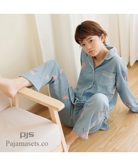 Long Sleeve Cotton Set pjs female for spring comfy Japanese Cartoon Yarn Full Cotton Yarn lounge pajamas for women