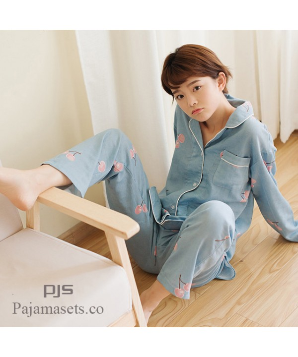 Long Sleeve Cotton Set pjs female for spring comfy Japanese Cartoon Yarn Full  Cotton Yarn lounge ... d8a6f4010