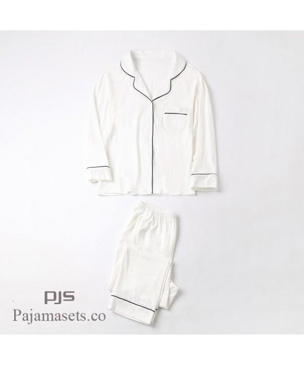 New Long Sleeve sleepwear Set female for spring Simple Milk White Japanese Series Ladies' Pure Cotton pajama sets