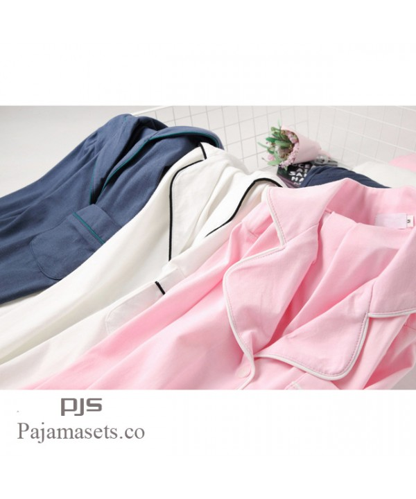 New Long Sleeve sleepwear Set female for spring Simple Milk White Japanese Series Ladies' Pure Cotton pajama sets