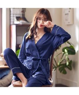 Cotton Sexy Long Sleeve Sleepwear Female for Spring Sweet Kimono Two-piece Leisure Ladies' sleepwear sets