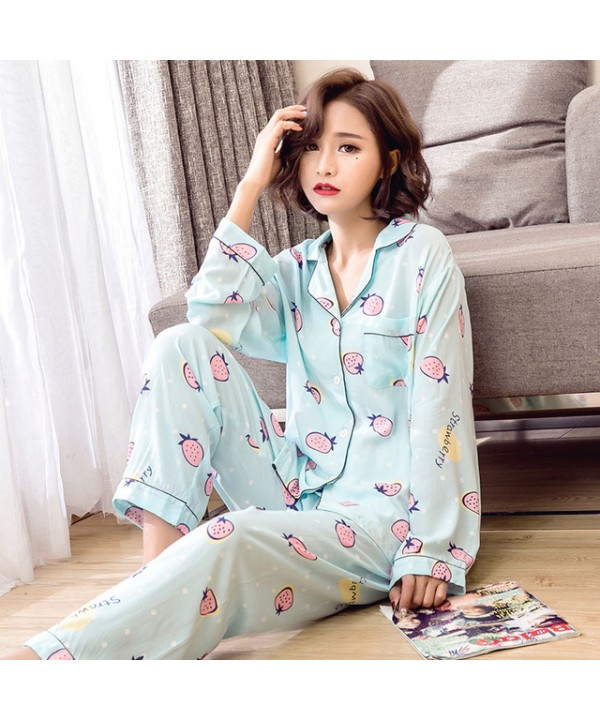 New comfy cotton pajama sets women long sleeve printed cheap pjs for spring