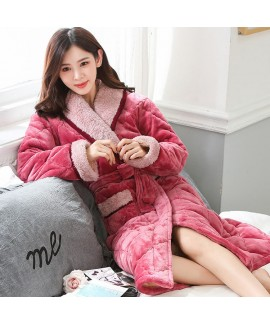 Ladies cotton pajamas and robe sets for winter com...