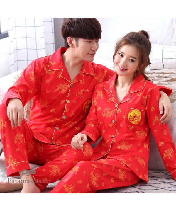long sleeves new couples' cotton pajamas for spring comfy wedding sleepwear