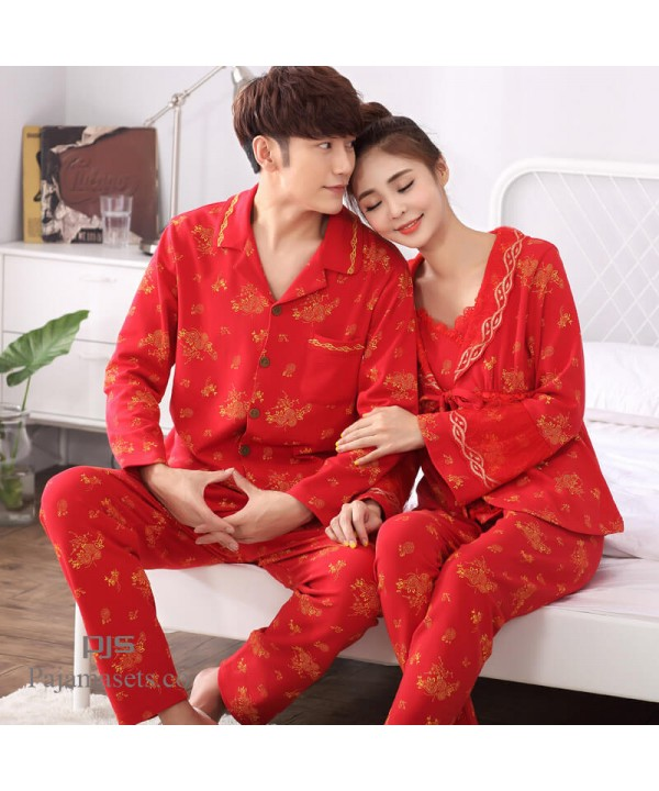 long sleeves new couples' cotton pajamas for sprin...